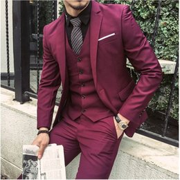 $enCountryForm.capitalKeyWord NZ - Red Fuchsia Suit Men Blazer Wedding Grooms Men Suit Slim Fit Prom Formal Jacket Tuxedo Costume Homme Mariage Terno Vest 3PCS