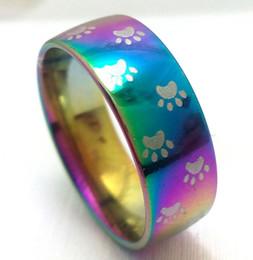 $enCountryForm.capitalKeyWord Australia - wholesale 50 Pcs rainbow foot print Band stainless steel rings fashion wedding band Couples ring jewelry ring