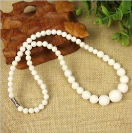 "Coral Gemstone Beads Australia - Wholesale natural White Coral stone Round Gemstone Beads Necklace 18 """