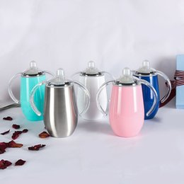 $enCountryForm.capitalKeyWord Australia - 8oz Stainless Steel Kids Tumblers Egg Mugs with Double Handle Stainless Steel Cups Coffee Wine tumbler Kids Water Bottle with Lid