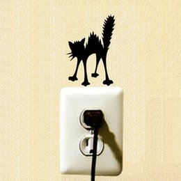 Cartoon Nature Australia - Angry Cat Silhouette Vinyl Wall Decal Personality Funny Cartoon Switch Sticker