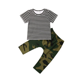 7cd1f488e Infant Newborn Baby Boy Girl Camo T-shirt Top+Camouflage Pants Outfit  Clothes Cool Cotton Unisex Full Striped Fashion Casual