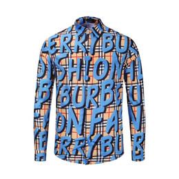 Graffiti mens shirts online shopping - 2019 Fashion Brand designer Mens women Casual Business shirt blouse Graffiti lapel shirt social brand Clothing