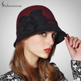 4452db7090913 Sedancasesa 2019 New Fashion Autumn Winter England Style Vintage Woman  Fedora Hat Felt Caps Cloche Hats with Handmade Flowers