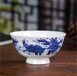 blue chinese bowl UK - Print Plant Jingdezhen Chinese 4.5-inch bone Chinhigh foot bowl blue and white glaze medium color high foot anti-hot bowl