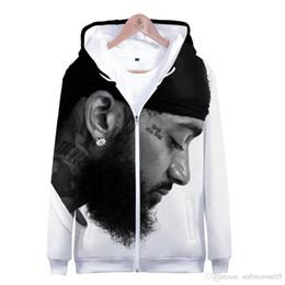 Wholesale zipper up hoodie for sale – custom nipsey hussle RIP Hoodies Men Women Hooded Zipper Up Cardigans Sweatshirts Rapper Tops