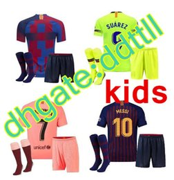 9fb2da234 2018 19 20 MESSI SUAREZ Barcelona Kids Jersey soccer 2019 Camisas Blue  Dembele Messi INIESTA home football shirt 18 19 kids Kit.