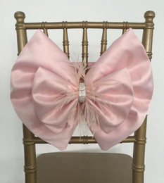 Champagne Chair Australia - 2019 Bow Crystals Fur Satin Wedding Chair Sashes Romantic Beautiful Chair Covers Cheap Custom Made Wedding Supplies C03