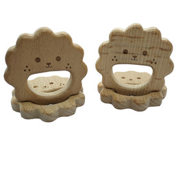 wholesale wood pendants Australia - 4pcs Natural Wooden Teether Bee pendant Beech Wood Stroller Toy Organic Gift for Newborn Baby Teether Food Grade DIY Baby Teething Jewelry