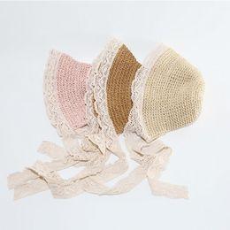 $enCountryForm.capitalKeyWord UK - Girls Lace Straw Hat Kids Cute Summer Beach Sun Hat Casual Lace Wide Brim Floppy Hat Little Princess Sun Protection Travel Hats LT867