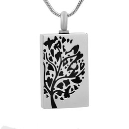red rectangle pendant Australia - new z785 silver Tree Of Life Keepsake Urn Jewelry Hold Human Pet Ashes Rectangle Stainless Steel Cremation Locket Necklace Pendant