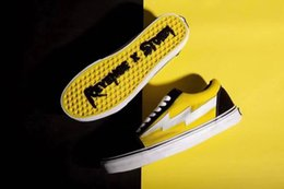 Cheap Canvas Slip Shoe Australia - Cheap New REVENGE x STORM KANYE Old Skool Casual Shoe Sneakers yellow Unisex Slip-On Light Weight Skateboarding Shoes Canvas Size:36-44