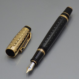 Lead Pens Australia - Top quality Bohemiaa Gold and Black Fountain pen lead office stationery Supplies luxury 4810 nib calligraphy ink Gift pens