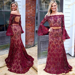 Pictures rings online shopping - Burgundy Two Pieces Prom Dresses with Long Bell Sleeves Keyhole Back Crystals Lace Ring Dance Dress Off the Shoulder