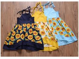 SunShine dreSS online shopping - Sunshine girl sleeveless skirt flower printed Sling skirt sunflower yellow and blue black color girl dresses