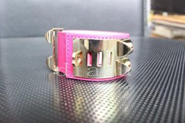 nail bracelet woman UK - with box fashion willow nail Bracelets Bangles men women leather bracelet rivet punk H leather stainless steel charm bangle jewelry man5179#
