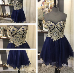 prom dresses for petite short girls Australia - Dark Blue Short Gold Lace Prom Homecoming Dresses Sweetheart Applique Beaded Tulle Mini Cocktail Party Graduation Dresses For Girls Cheap