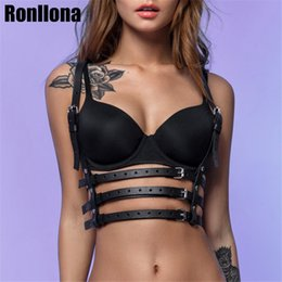 $enCountryForm.capitalKeyWord NZ - Fashion Leather Harness Belt Punk Goth Bra Body Bondage Adjustable Chest Straps Black Slim Suspenders Buckle Crop Top Body
