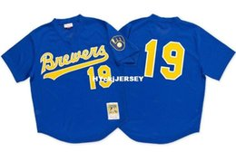 Barato Royal MITCHELL NESS MILWAUKEE # 19 Robin BATTING PRACTICE MESH JERSEY Throwbacks Jerseys de béisbol cosidos para hombre en venta