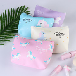 fold cosmetic bag Australia - 1PC Fashion Unicorn Portable Zipper Travel Cosmetic Bag Women Travel Toiletry Pouch Cute Floral Zipper Folding Handbag