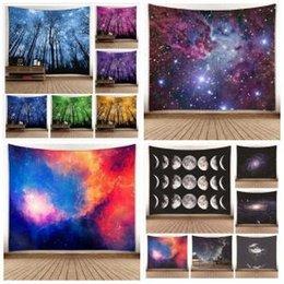 Ingrosso Alberi forestali Arazzo Stelle Cielo stellato Galaxy Wall Hanging 150 * 130cm Copriletto Decor Tiro Spiaggia materassino yoga Scialle asciugamano Coperte AAA1757