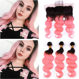 rose gold hair weave UK - Black to Pink Ombre Peruvian Human Hair Weaves with Frontal Closure Body Wave #1B Rose Gold Ombre 3Bundles with Lace Frontal 4Pcs Lot