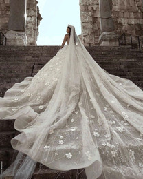 simple church wedding dresses 2019 - Luxuriours A Line Royal Wedding Dresses Dubai Saudi Arabic Modest Long Sleeves Bling Sequins Beaded Appliqued Formal Chu