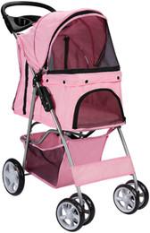 Carrito de mascotas Carrito de gato Cochecito de 4 ruedas Viaje Plegable Coche Rosa en venta