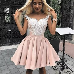 $enCountryForm.capitalKeyWord Australia - Pink Puffy Satin Skirt A Line Homecoming Graduation Dresses 2019 Lace Top Cap Sleeves Knee Length Girls Party Short Prom Gown AL2293