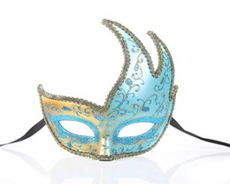 $enCountryForm.capitalKeyWord UK - Pink& Blue& White Fashion Women Sexy mask Hallowmas Venetian eye mask masquerade masks with Lined with flannel for dance party holiday mask