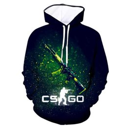 Wholesale Tops Quality Brand Clothing Funny d print Hoodie Cool CS GO Gamer Sweatshirt Counter Strike Global Offensive CSGO Men Hoodie