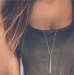 $enCountryForm.capitalKeyWord NZ - Simple Sliver Gold Plated Chain long Necklace lariat Charm Bar Necklaces&Pendant necklace For women gift J188