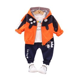 $enCountryForm.capitalKeyWord Australia - Cartoon Dinosaur Baby Boy Girl Clothes Autumn Kids Jackets T-shirt Pants 3pcs set Toddler Clothing Children Fashion Casual Suits