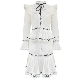 $enCountryForm.capitalKeyWord Australia - Womens new skirt sweet wind print set female collar collar lace trumpet sleeve stitching hollow shirt high waist mini pleated skirt