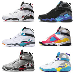 cool basketball shoes Canada - jumpman 8s mens Basketball Shoes 8 Multi Color Aqua Black White Cool Grey Chrome Alternate Valentines Day Trainers Sports Sneakers Size 13