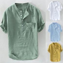 $enCountryForm.capitalKeyWord Australia - Fashion Men T Shirt Cotton Short Sleeve O Neck Button Casual Men Tee Shirt Loose Breathable T-shirt Camisetas Summer Tops