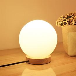 Ingrosso New Modern Globe Lampada da tavolo rotonda a LED in vetro rotondo da tavolo Lampada da illuminazione a luce bianca per camera da letto Bar Illuminazione da casa