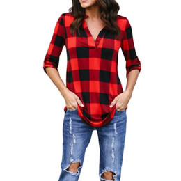 Wholesale women tunic tops for sale - Group buy Patchwork Fashion Plaid Tshirt Plus Size Summer T Shirt Women Clothes Tunic Camisetas Mujer Casual Grid T Shirt Top Tee Female Trend
