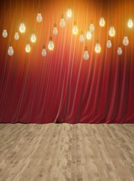 $enCountryForm.capitalKeyWord Australia - 5x7FT Light Red Curtain Drape Bulbs Wooden Floor Custom Photo Studio Backdrop Background Vinyl 220cm x 150cm