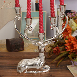 Discount cup holder stick - Free shipping silver finish metal reindeer shape candle holder,5-arms decorative candle stick, zinc alloy stand