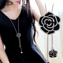 $enCountryForm.capitalKeyWord Australia - BYSPT Zircon Black Rose Flower Long Necklace Sweater Chain Fashion Metal Chain Crystal Flower Pendant Necklaces Adjusted