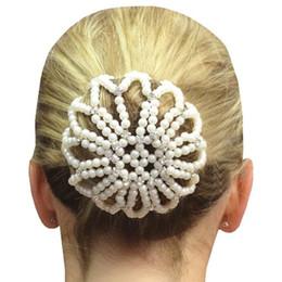 Crochet Snood Hair Net Australia - Furling Girl 1 PC Hand Made Crochet Pearl Elastic Hair Nets Ballet Dancing Snood Net Hair Bun Covers Ornament for Ladies