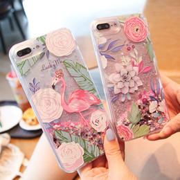 Capa Iphone Glitter Australia - Cartoon Flamingos Phone Cases Dynamic Glitter Stars Water Liquid Case Cover For iphone 7 For iphone 6 6S 8 Plus X Capa