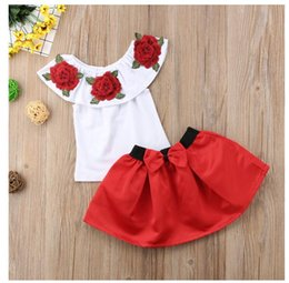 $enCountryForm.capitalKeyWord Australia - Hot Sale! 2019 Summer Baby Kids Girls Clothes 3D Flower print sleeveless Ruffle round neck pullover T-Shirts Butterfly-knotted2pc cotton Set