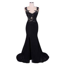 $enCountryForm.capitalKeyWord UK - Black Mermaid Evening Dress 2019 Women Formal Dresses Lace Appliques Side Slit Prom Gowns Vestidos De Festa