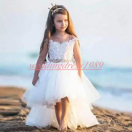 girls first birthday tutu Australia - Beach High Low Lace Flower Girls' Dresses Tulle Cute Girls Birthday Formal Gowns First Communion Dresses Kids Tutu Pageant For Wedding