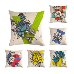 """Coffee Housing Australia - Hand Painting Flower Letters Pillowcases Linen Pillow Case Square 18"""" Throw Cushion Cover Coffee House Home Sofa Waist Car Back Party Decor"""