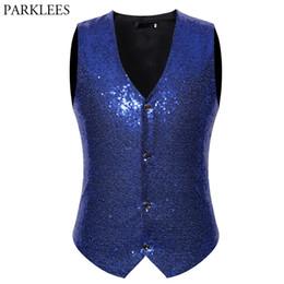 $enCountryForm.capitalKeyWord Australia - Shiny Royal Blue Sequin Glitter Vest Men Slim Fit V Neck Vestcoat Mens Wedding Groom Gilet Homme DJ Bar Stage Singers Costume