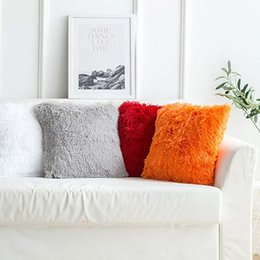 Discount car sofa couch - Pillow Case Cover Throw Pillow Covers Plush Solid Color Sheepskin Crystal Velvet Cushion Pillow for Couch Bedroom Sofa C