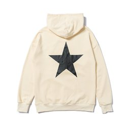 Discount black sweater white stars Fear Of God Hooded double-track high street FOG Essentials printing five-pointed star paragraph sweater